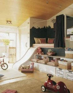 Great idea for  play room reading nook lots of toy storage and fun  slide can totally customize these ideas smaller or larger space also trouvez  inspiration pour creer la salle de jeux plus luxueuse rh pinterest