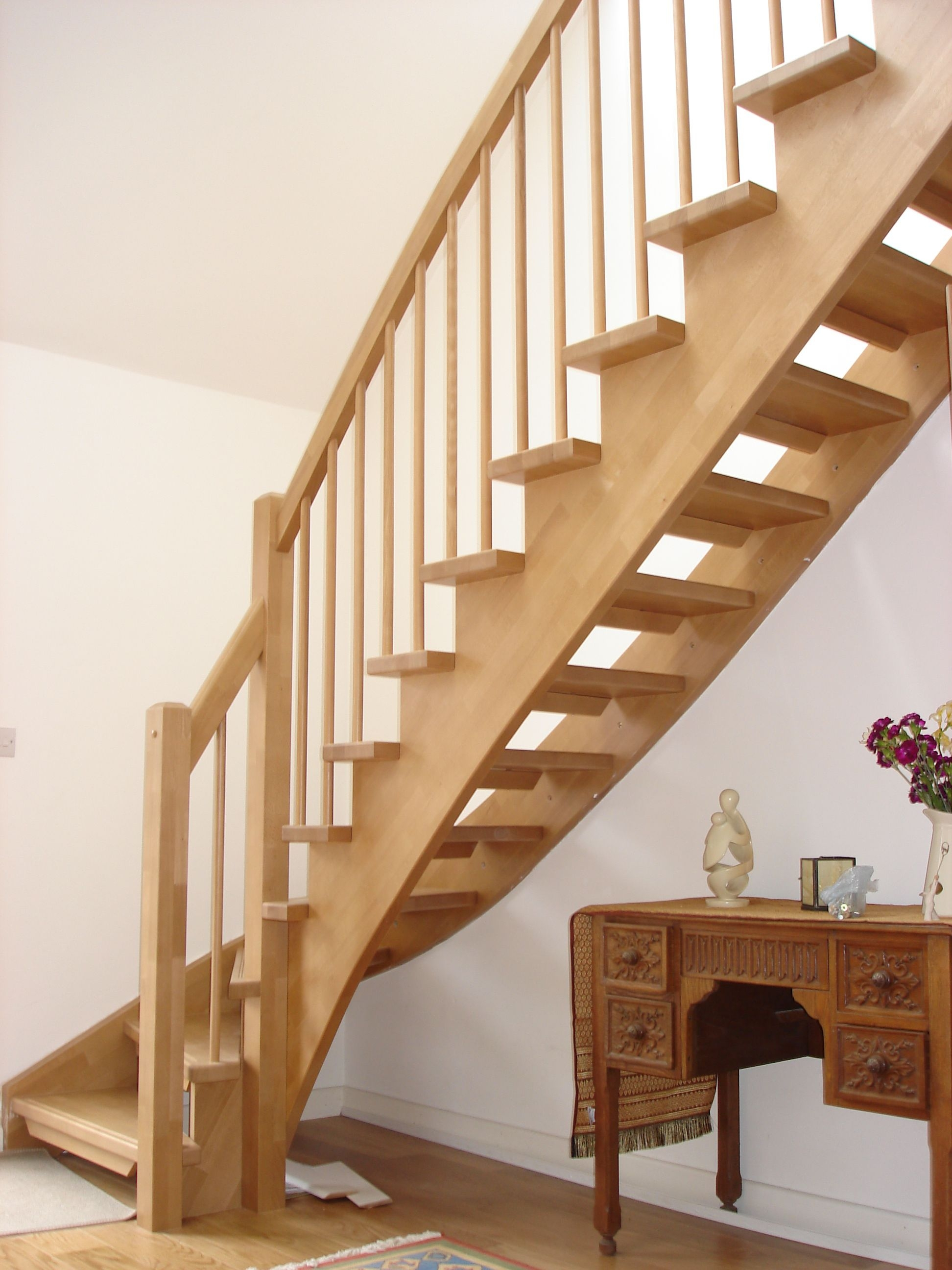 Gorgeous Unfinished Pine Wood Open Staircase With White   Open Tread Staircase Designs