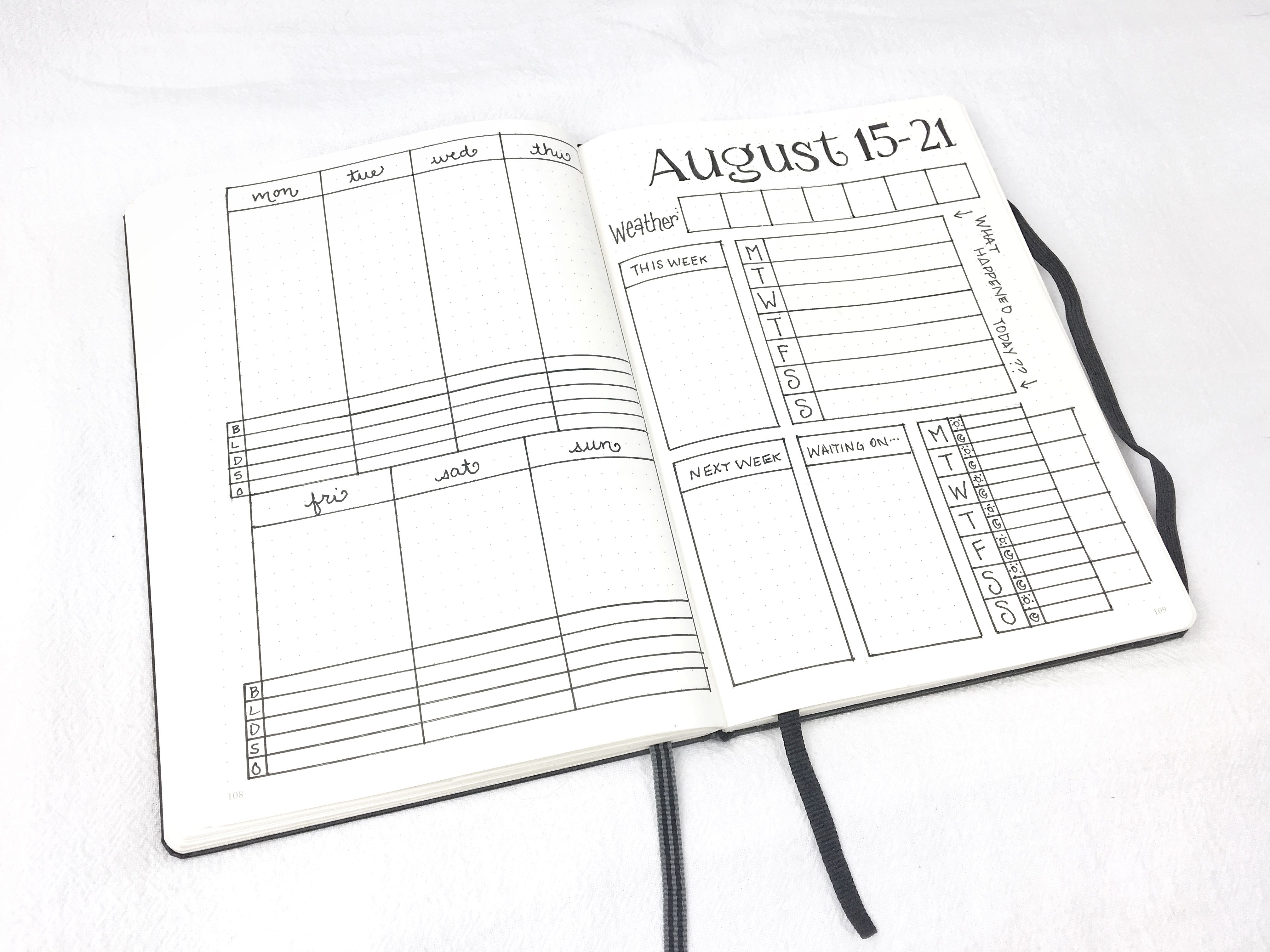 Downloadable weekly spread for August 15-21, 2016