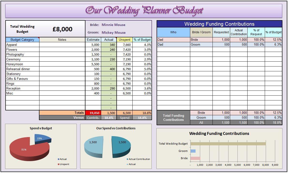 Wedding PlannerOrganiser  Custom Excel Template Saving