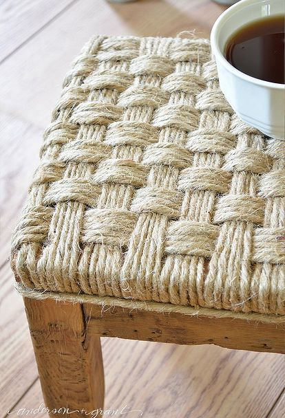 nice chair stool dorm room how to create a rustic wood footstool with jute twine | crafts, and ...
