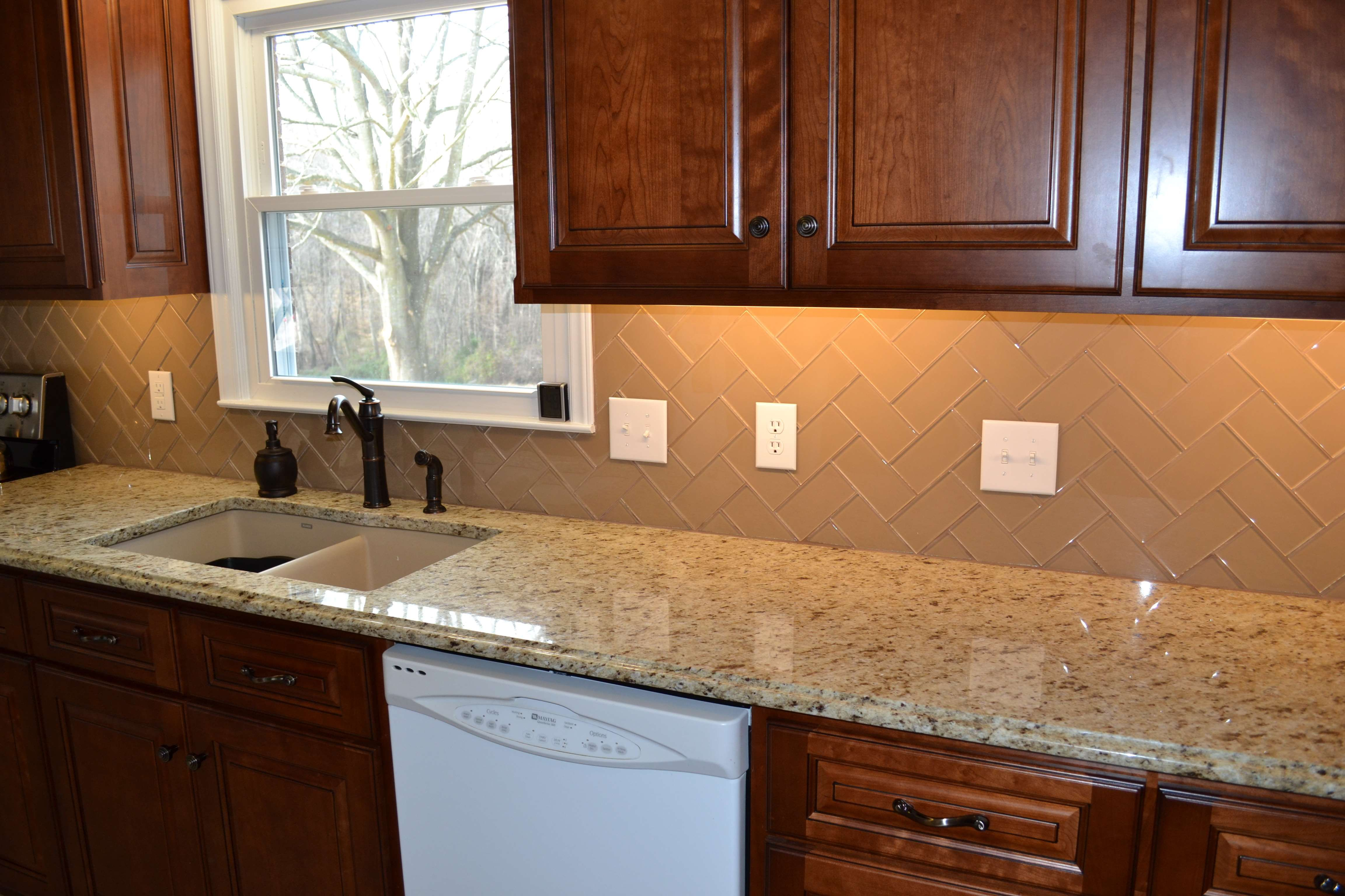 Champage Glass Subway Tile Herringbone Kitchen Backsplash