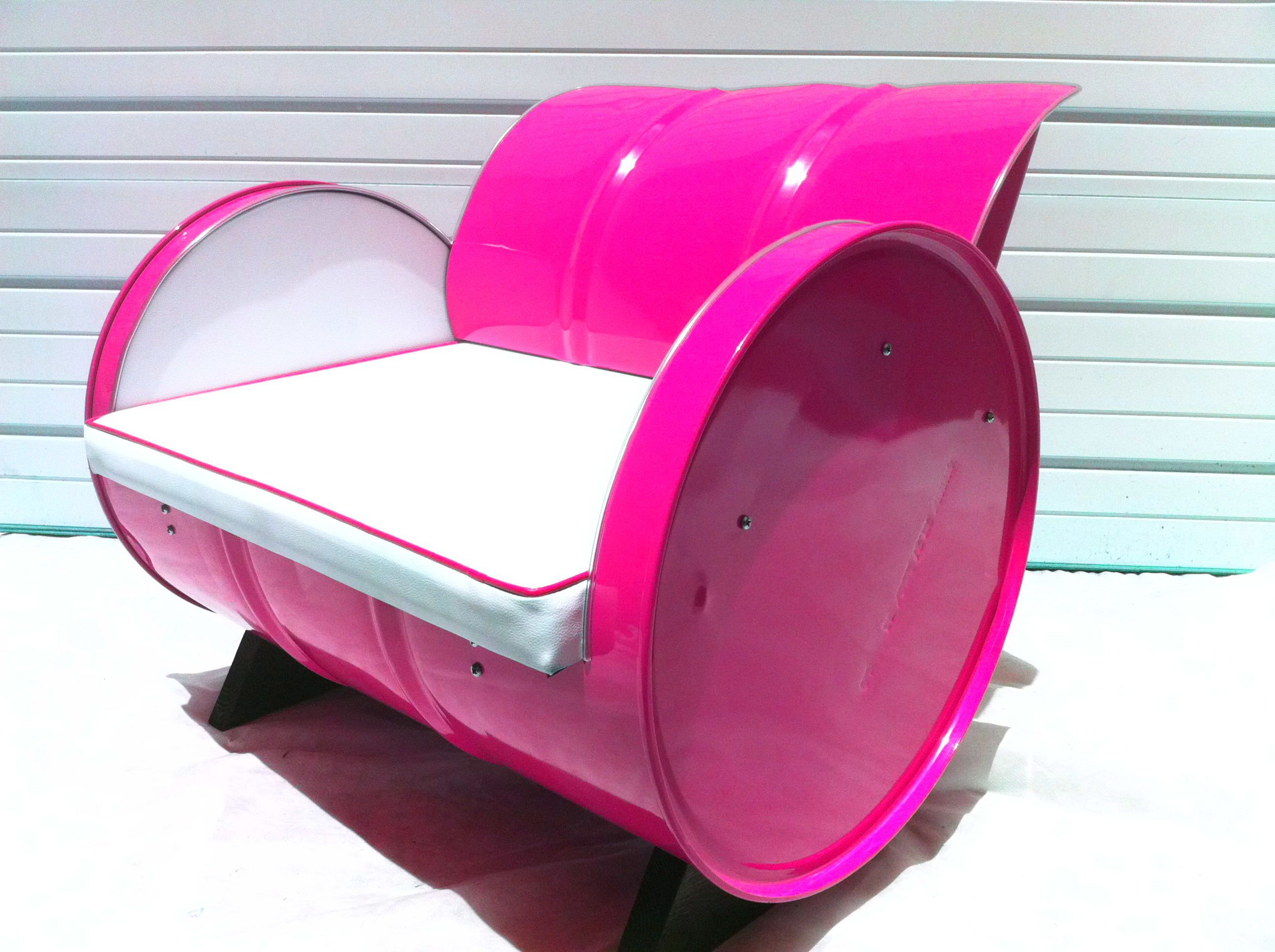 Drum Chair Recycled 55 Gallon Drum Arm Chair Blinding Magenta Powder