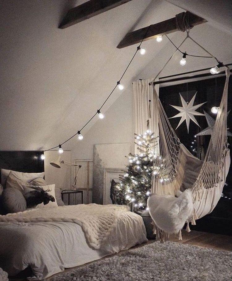 The hammock chair looks fun and I love the lights