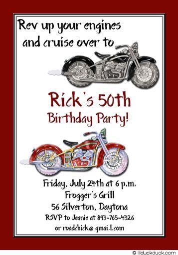 Motorbike Birthday Invitation Red Amp White Motorcycles