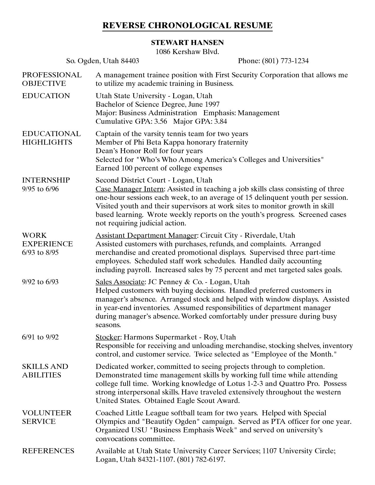 resume example reverse chronological - frizzigame - Examples Of Chronological Resume