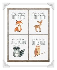 Woodland Animal Prints Set of 4 | Baby Boy Nursery ...