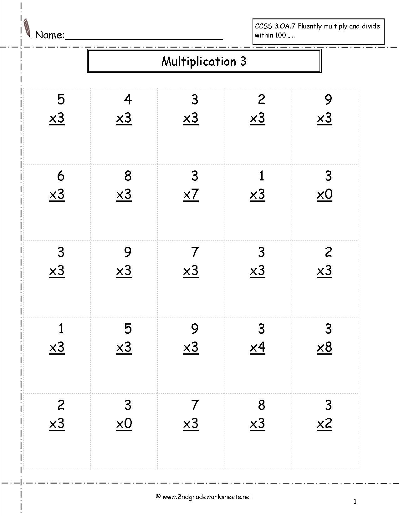 Multiplication Practice Sheets For 3rd Grade