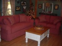 red checked primitive couch | My Country living Room ...