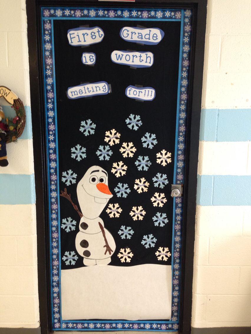 Frozen themed classroom door.