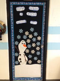 Frozen themed classroom door.