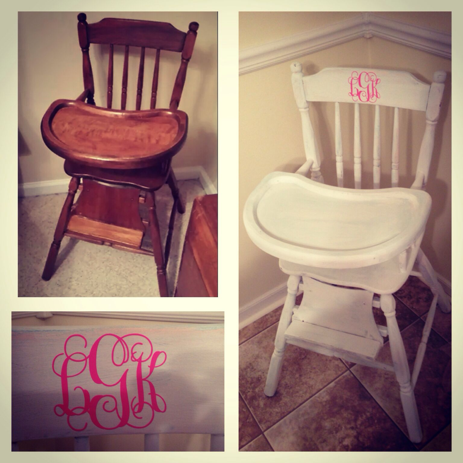 Kitchen High Chairs 25 Vintage Wooden High Chair Distressed With White Chalk