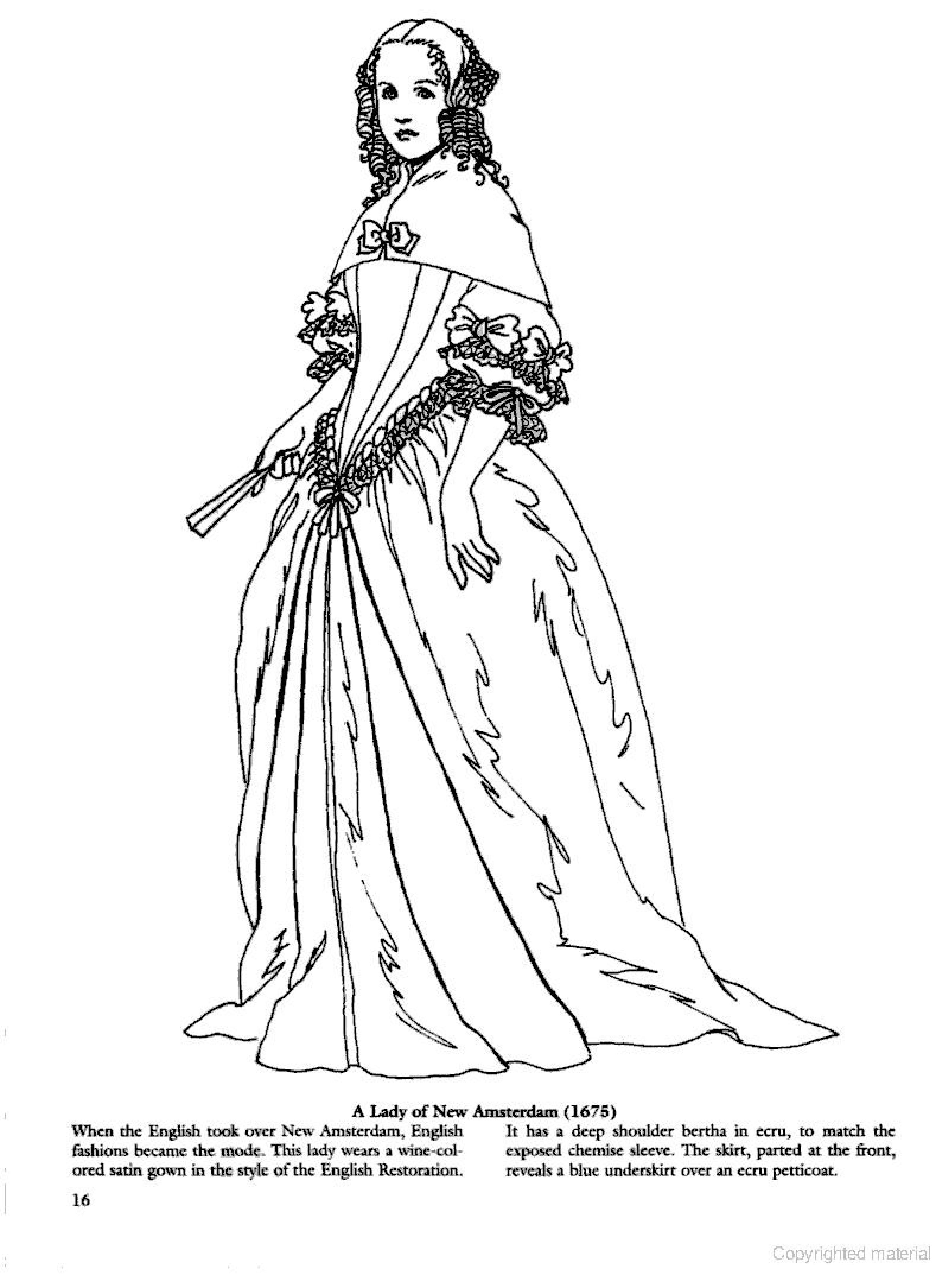 Colonial Clothing Coloring Pages