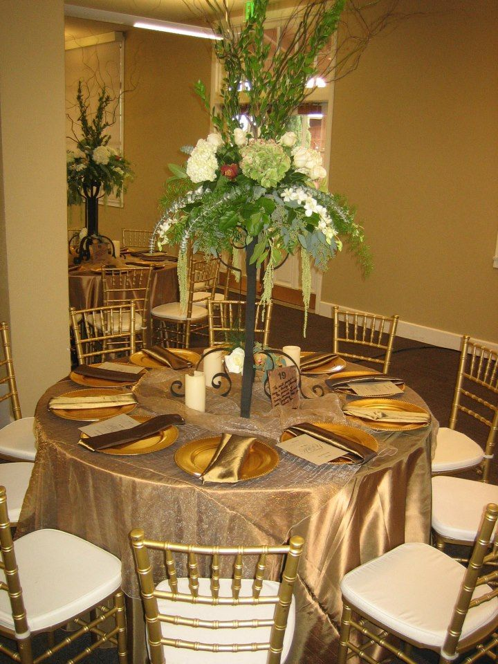 tall dining table chair covers barber free shipping mantel dorado, centro de mesa bajo | boda oro pinterest