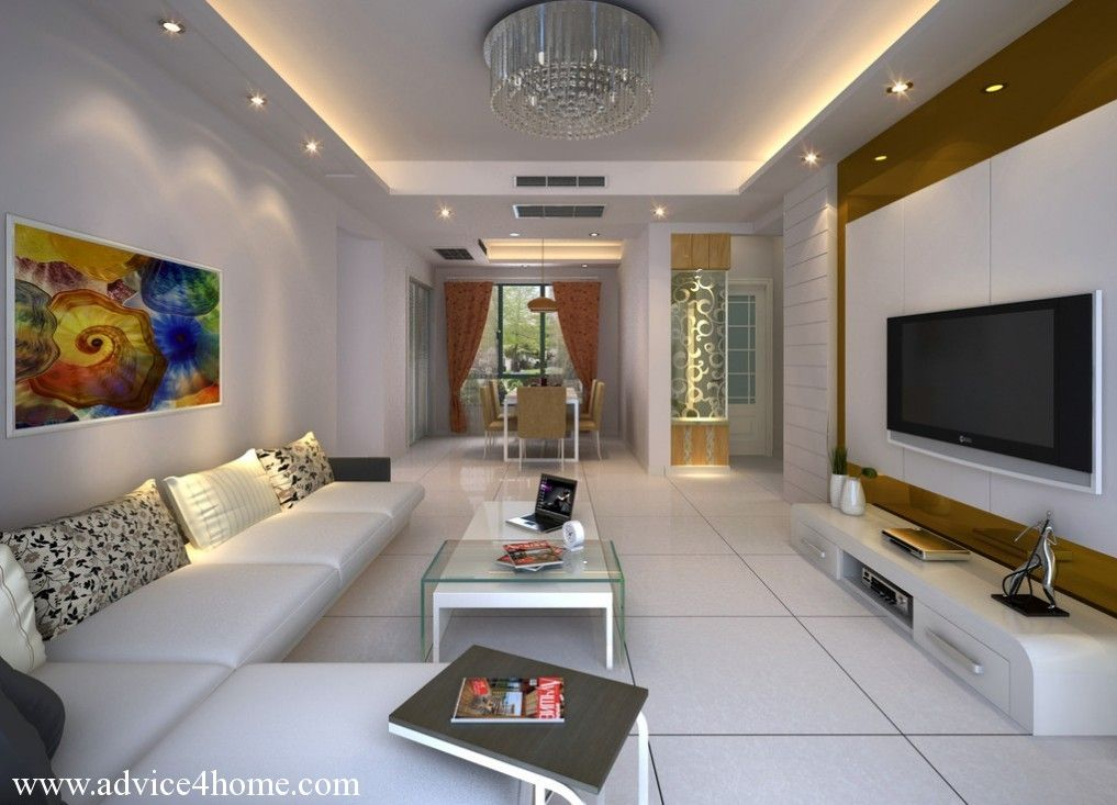 Cool Pop Ceiling Designs For Long Narrow Living Room With White