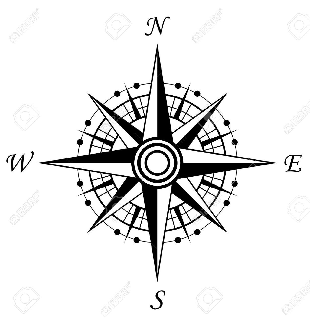 Compass Symbol Isolated On White For Design Royalty Free