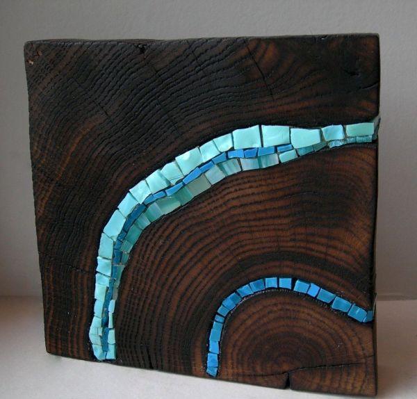 Mosaic Stump Bloc Wooden Blue Art Sculpture1