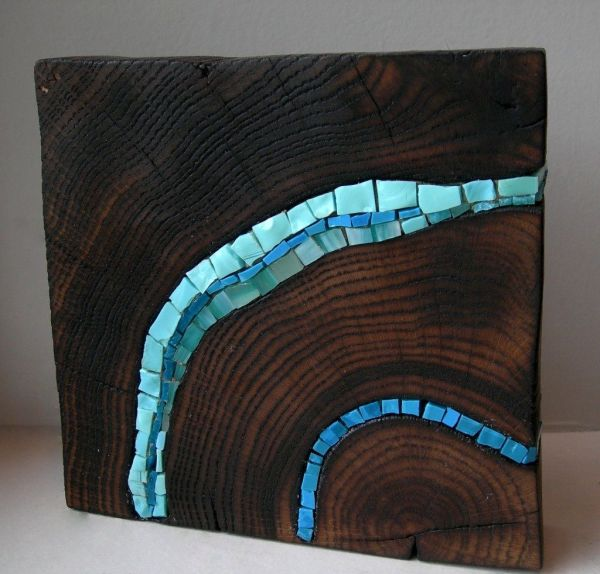 Wood Mosaic Art Glass