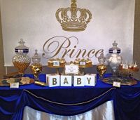 ROYAL PRINCE BABY SHOWER | White baby showers, Blue gold ...