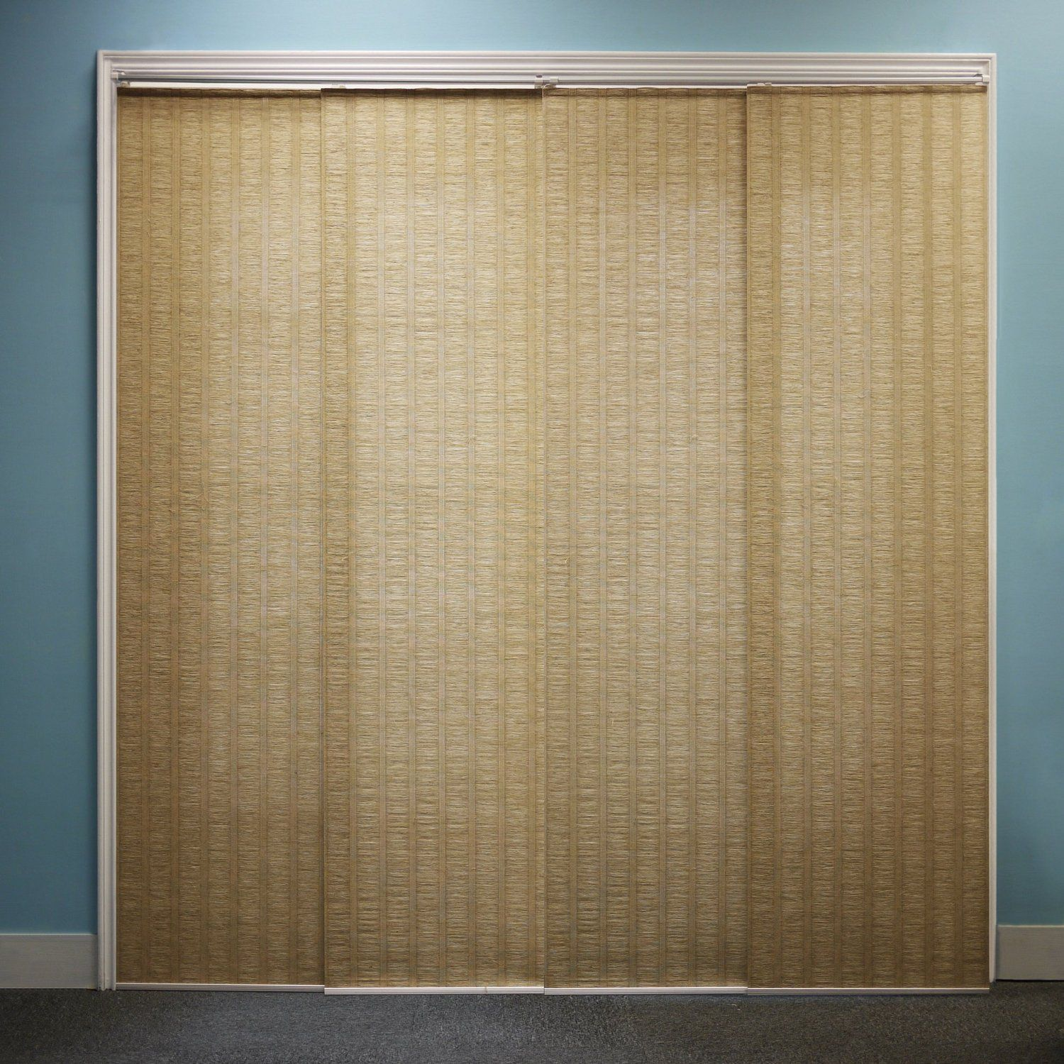 Cool Brown Sliding Glass Door Curtain With Blue Wall Paneling