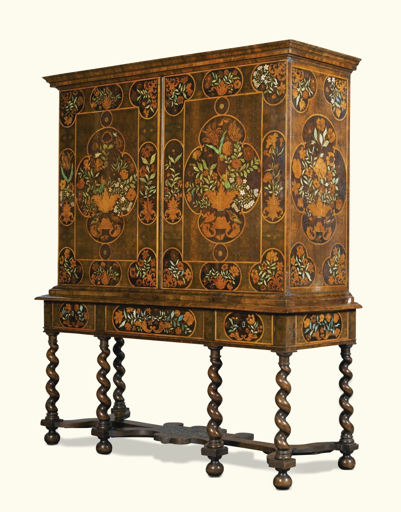 Subastas Duran Muebles A William And Mary Floral Marquetry Cabinet On Stand Late