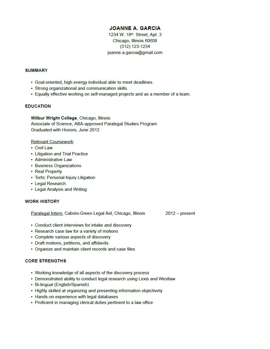 paralegal resume sample resume working girl pinterest - Paralegal Resumes Examples