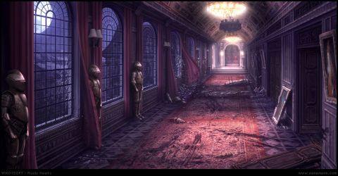 castle corridor deviantart fantasy game creepy mansion concept horror google interiors environment apocalypse anime hallway dark halls medieval abandoned long