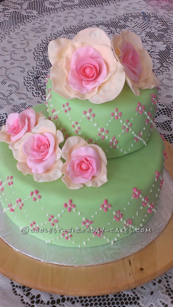 Spring Roses Cake 80th Birthday Party Rose