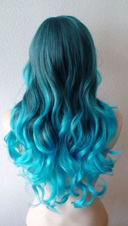 turquoise blue ombre wig. long