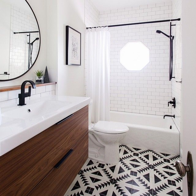 Gorgeous bathroom using cement tile and Ikea vanity