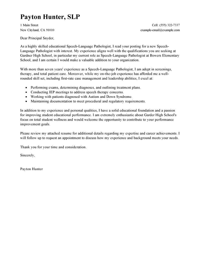 Speech Language Pathologist Cover Letter Sample Helpful Info