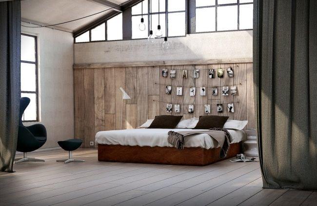 wohnideen fr schlafzimmer rustikal warme farben naturholz wanddeko  betten  Pinterest  Warme