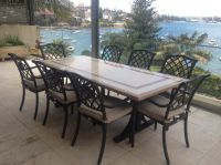 Stylish Outdoor Stone Patio Tables with Faux Marble Top on ...