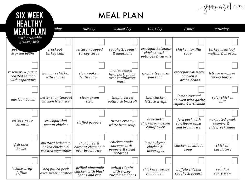 Six Week Healthy Meal Plan With Free Printable Grocery