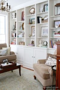 Bookshelf wall built-ins in living room. I like how it ...