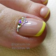 yellow french - rhinestone toe