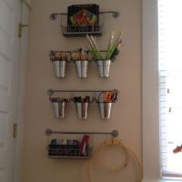 Ikea organization (office supplies on wall by printer