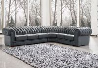 Appealing Grey Upholstered Sectional Leather Chesterfield ...