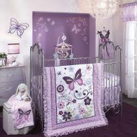 Bedroom , Cozy Purple Theme Girl Nursery Ideas : Lambs And ...