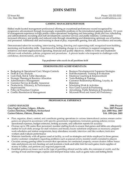 casino marketing resume template