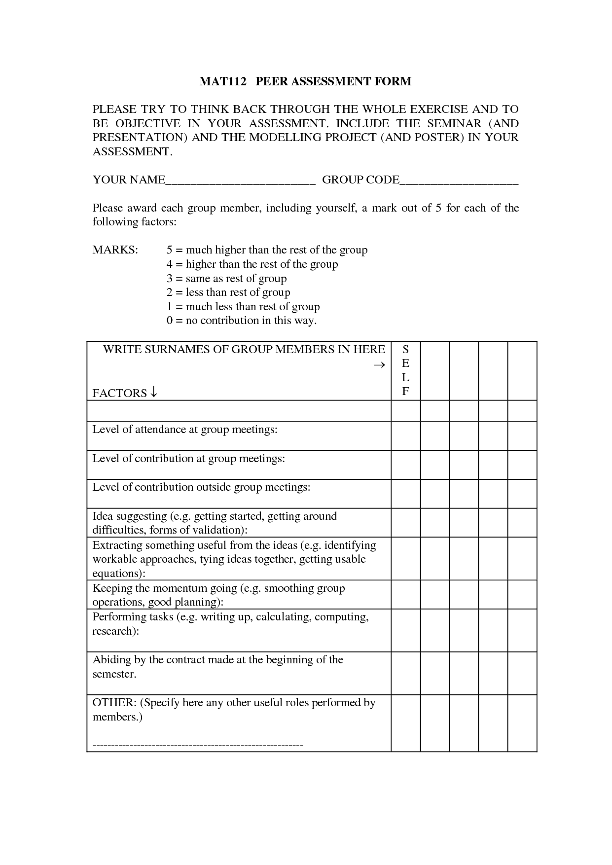 Group Project Peer Assessment Template