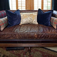 Tartan Chesterfield Sofa Woodland Classic Brown Leather Settee With Single Seat Cushion