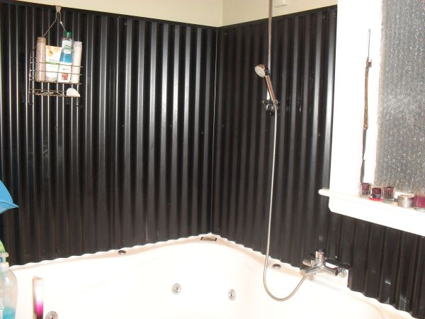 Corrugated Iron Bathroom Wall Easy Clean And Great Home