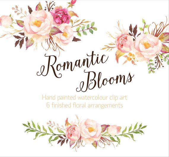 romantic blooms watercolour clip