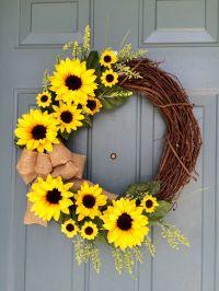Sunflower Front Door Wreath - Spring Sunflower Wreath ...