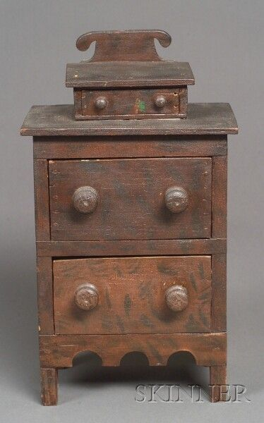 miniature grain painted basswood chest of drawers 1835 45