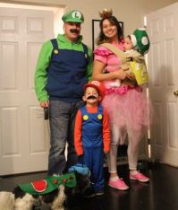 Mario family halloween baywearing one up mushroom costume ...