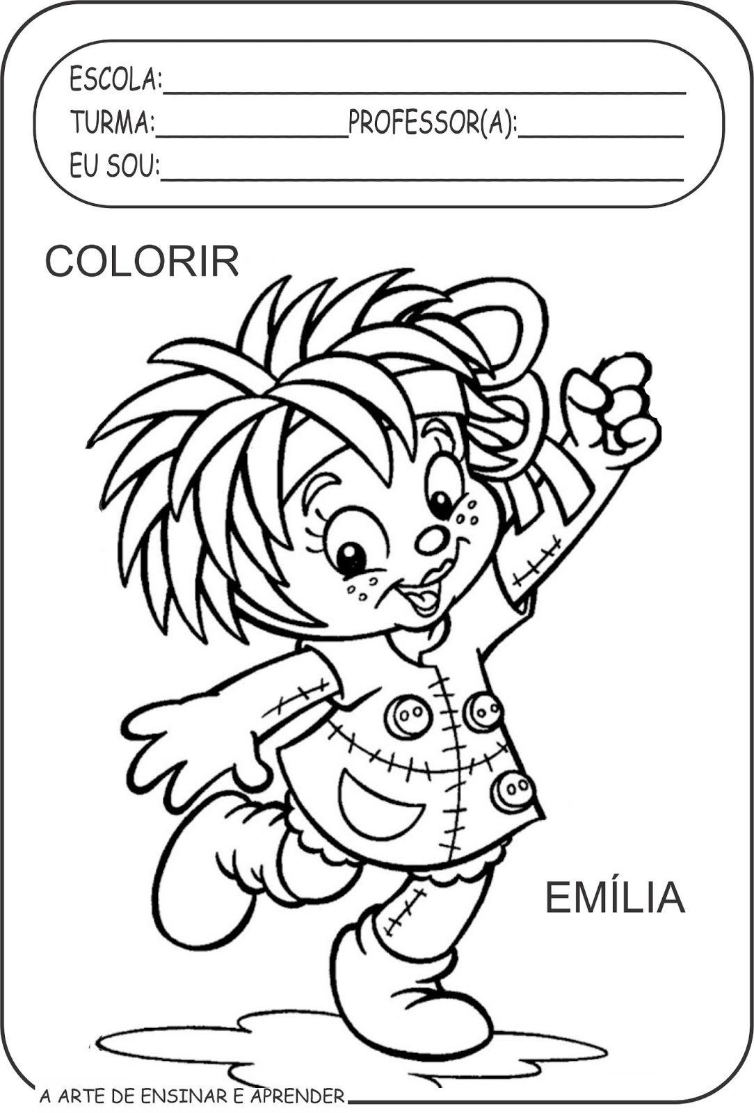 Atividades colorir personagens de Monteiro Lobato para a