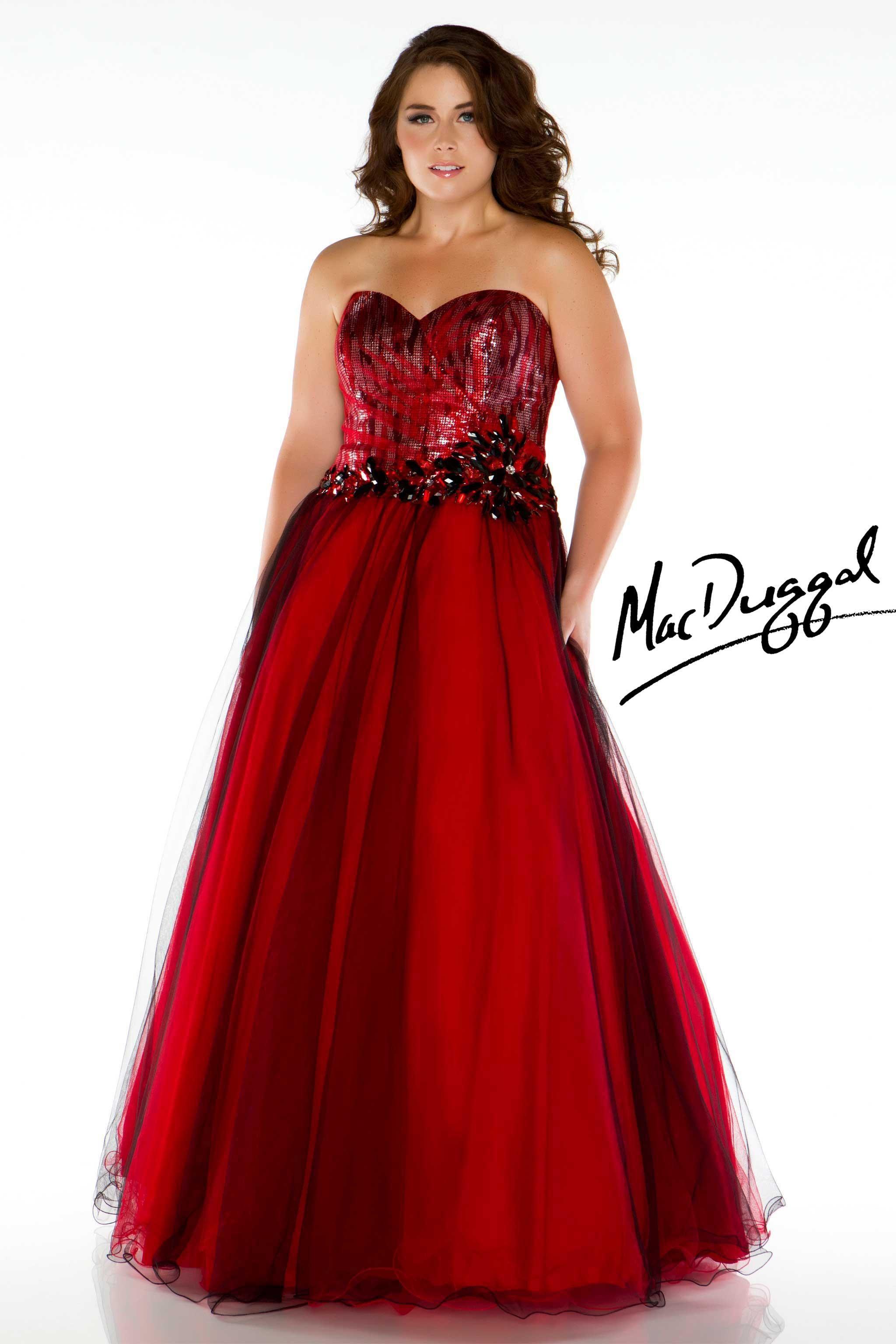 Strapless Red Plus Size Prom Dress  Mac Duggal  Prom