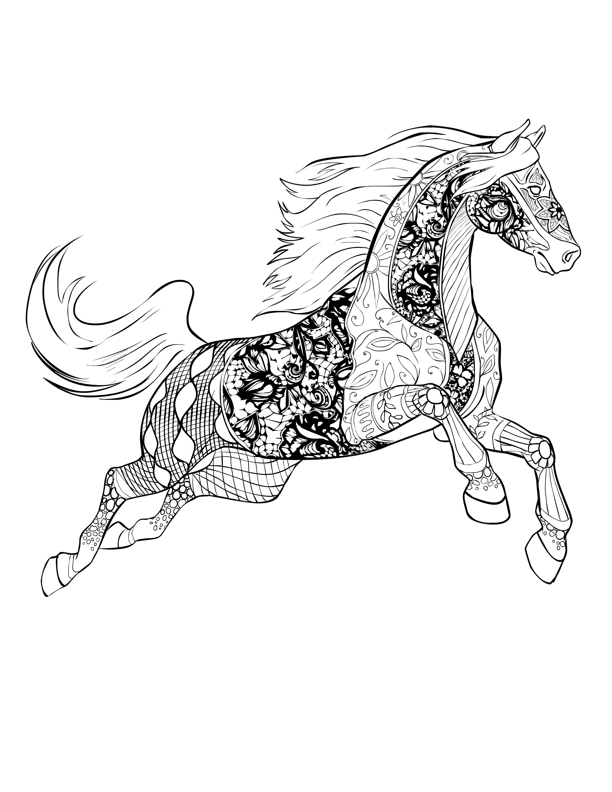 Zentangle Horse Sketch Coloring Page